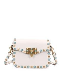 Valentino Ivory Rockstud Rolling Small Messenger Bag