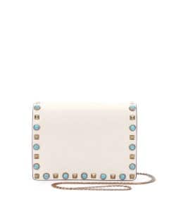 Valentino Ivory Rockstud Rolling Wallet On Chain Bag