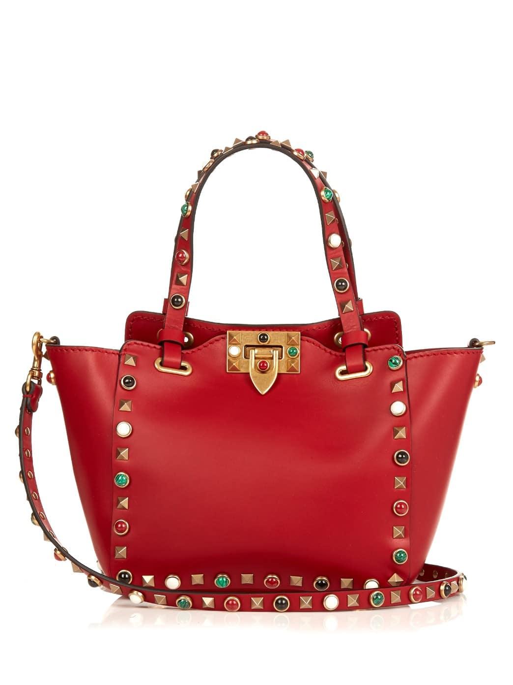 Valentino Red Multicolor Stones Rockstud Rolling Mini Tote Bag