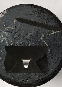 Celine Black Suede Calfskin Chain Bag Clutch