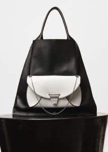 Celine Black/White Medium Shopper Shoulder Bag with Pocket