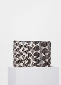 Celine Black/White Printed Watersnake Clutch with Pocket Bag