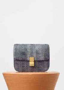 Celine Black/White Watersnake Medium Classic Box Bag