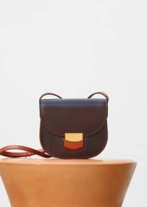Celine Burgundy Bicolour Small Trotteur Shoulder Bag
