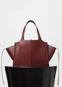 Celine Burgundy Medium Tri-Fold Shoulder Bag