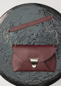 Celine Burgundy Smooth Calfskin Chain Bag Clutch