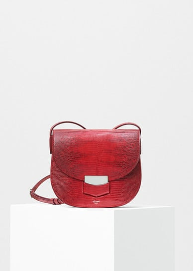 celine red palmelato calfskin leather edge medium shoulder bag