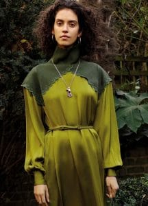 Celine Chartreuse Silk Satin High Neck Dress - Fall 2016 Lookbook 9