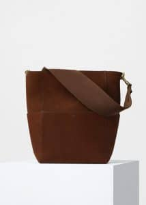 Celine Chestnut Double Sided Suede Calfskin Sangle Shoulder Bag