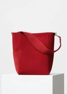 Celine Chili Double Sided Suede Calfskin Sangle Shoulder Bag