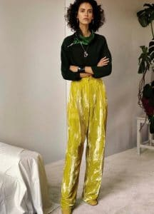 Celine Citrus Shimmering Velvet Pleated Trousers - Fall 2016 Lookbook 20