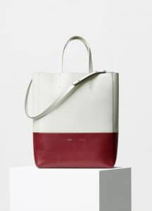 Celine Grey/Merlot Grained Calfskin Small Bi-Cabas Bag