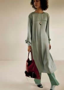 Celine Jade Crew Neck Dress and Light Burgundy Medium Shopper Shoulder Bag - Fall 2016 Lookbook 16