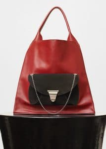 Celine Light Burgundy Medium Shopper Shoulder Bag with Pocket