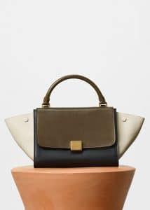 Celine Moss Green Multicolor Sleek Calfskin Small Trapeze Bag