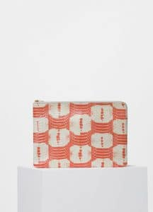 Celine Orange/White Printed Watersnake Clutch with Pocket Bag