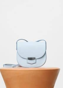 Celine Pale Blue Grained Calfskin Small Trotteur Shoulder Bag