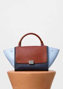 Celine Pale Blue Multicolor Shiny Smooth Calfskin Small Trapeze Bag