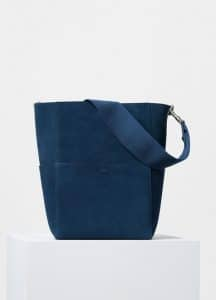 Celine Petrol Double Sided Suede Calfskin Sangle Shoulder Bag