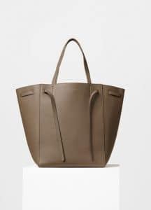 Celine Taupe Soft Grained Calfskin Medium Cabas Phantom with Belt Bag