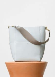 Celine White Soft Grained Calfskin Sangle Shoulder Bag