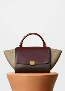 Celine Wine Multicolor Sleek Calfskin Small Trapeze Bag
