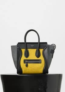 Celine Yellow Multicolor Felt Micro Luggage Bag