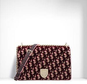 Dior Beige and Pink Dior Print Fabric Diorama Bag