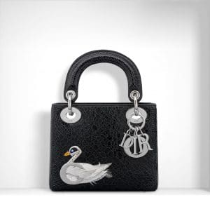 Dior Black Ceramic-Effect with Jewelled Swan Mini Lady Dior Bag