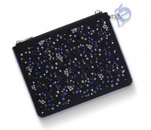 Dior Black Embroidered Technical Fabric Stardust Flat Zipped Pouch Bag