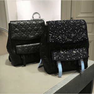Dior Black Lambskin and Embellished Stardust Backpack Large Bags