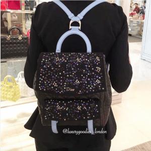 Dior Black/Blue Embellished Stardust Backpack Large Bag 3
