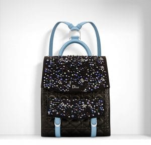 Dior Black/Light Blue Floral Embroidered Stardust Backpack Bag