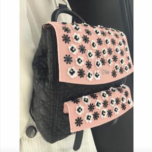 Dior Black/Pink Embellished Stardust Backpack Large Bag