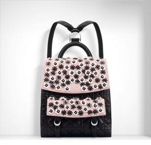 Dior Black/Pink Floral Embroidered Stardust Backpack Bag