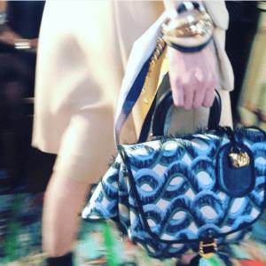 Dior Blue Wave Printed Top Handle Bag - Cruise 2017