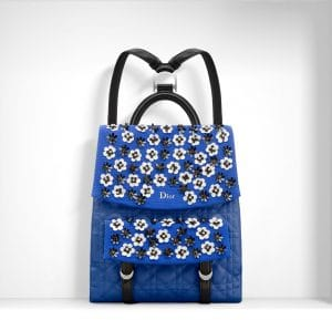 Dior Electric Blue/Black Floral Embroidered Stardust Backpack Bag