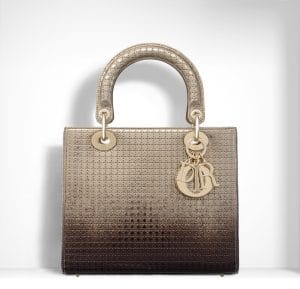 Dior Gold-Tone and Ebony Graded Metallic Lady DIor Bag