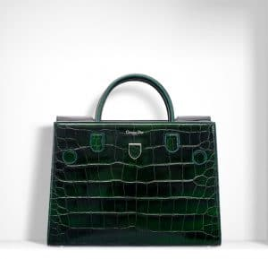 Dior Green Metallic Alligator Diorever Bag