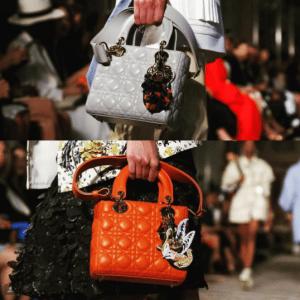 Dior Grey and Orange Lady Dior Bags - Cruise 2017