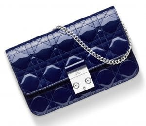 Dior Midnight Blue Pearlised Patent Miss Dior Promenade Pouch Bag