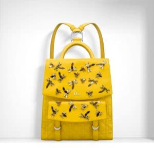 Dior Mimosa Yellow Dragonflies Embroideres Stardust Backpack Bag