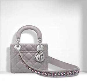 Dior Montaigne Grey Mini Lady Dior Bag with Embroidered Strap