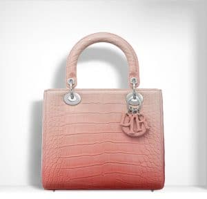 Dior Pink Shiny Graded Alligator Lady Dior Bag