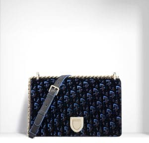 Dior Plum and Blue Dior Print Fabric Diorama Bag