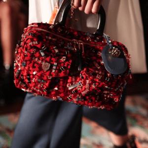 Dior Red Embellished Fabric Satchel Bag - Cruise 2017
