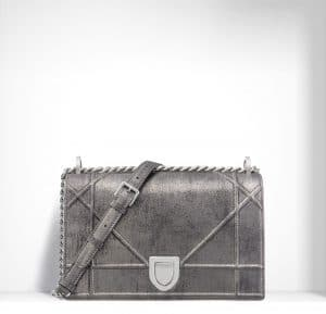 Dior Titanium Metallic and Brushed Calfskin Diorama Bag