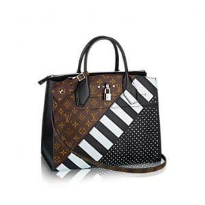 Louis Vuitton Black Calfskin : Studs and Monogram Canvas City Steamer MM Bag