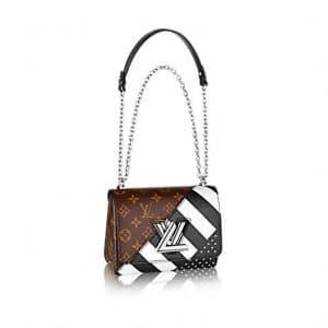 Louis Vuitton Black Calfskin : Studs and Monogram Canvas Twist MM Bag