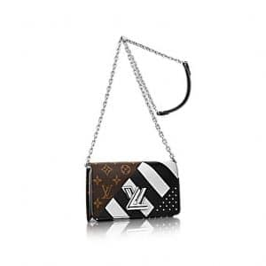 Louis Vuitton Black Calfskin : Studs and Monogram Canvas Twist Wallet Bag